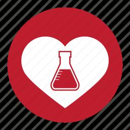 chemistry, experiment, formula, heart, lab, test, valentine, valentines icon