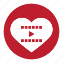 film, joy, media, movie, play, valentine, video icon