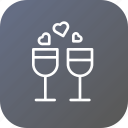 champagne, date, dinner, drink, love, valentine icon