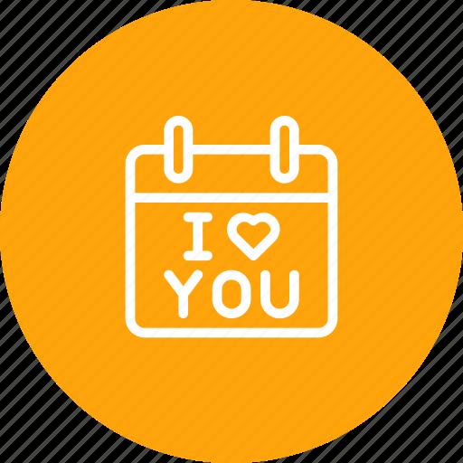 calendar, i, love, propose, reminder, valentine, you icon
