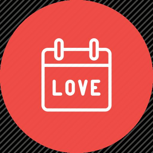 calendar, date, day, love, reminder, valentine icon
