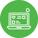 chat, chatting, device, heart, laptop, love, valentine icon
