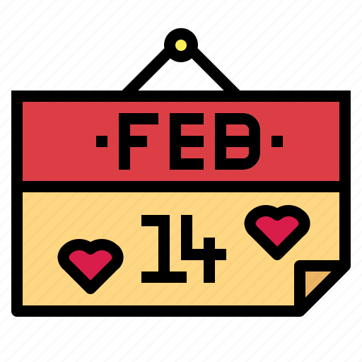 calendar, february, love, valentine icon
