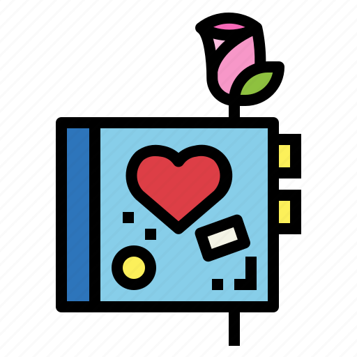 diary, heart, love, paper icon