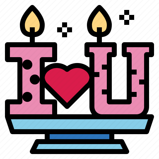 candles, heart, love, valentine icon