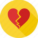 break, breakup, broken heart, divorce, heart, heart broken, seperation icon