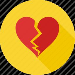 break, breakup, broken heart, divorce, heart, heart broken, seperation icon