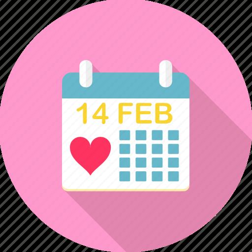 calender, date, event, month, valentine, valentine day, valentines icon
