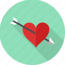 arrow, cupid, falling in love, heart, love, valentines, wedding icon