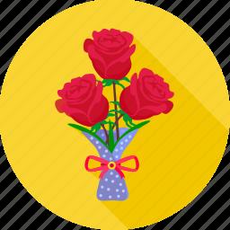 bouquet, flower, love, propose, rose, valentine, valentine day icon
