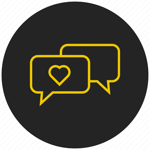 conversation, heart, love message, message bubble, valentine message icon