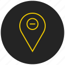 gps, locate, location marker, location tracker, map, place, unpin location icon