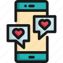 chat, communication, heart, love, message, mobile, valentine icon