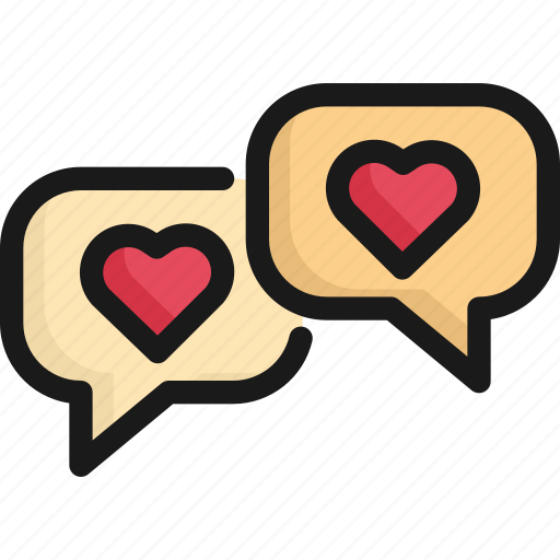bubble, chat, communication, heart, love, message, valentine icon