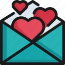 card, celebration, heart, invitation, love, romance, valentine icon