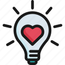 energy, heart, idea, light bulb, love, romantic, valentine icon