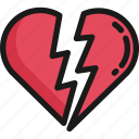 breakup, broken heart, couple, love, red, relationship, valentine icon