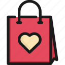 bag, gift, heart, holiday, package, paper, shopping icon