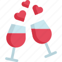 celebration, champagne, drink, heart, party, valentine, wine icon
