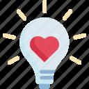 energy, heart, idea, light bulb, love, romantic, valentine