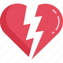 red, valentine, breakup, love, relationship, broken heart, couple icon