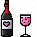 alcohol, beverage, bottle, drink, glass, restaurant, wine icon