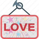 affection, board, hanging, love, love frame icon