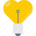 bulb, electricity, heart in bulb, romantic theme icon