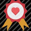 badge, heart badge, insignia, love badge icon