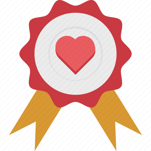 badge, heart badge, insignia, love badge icon