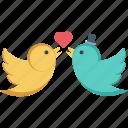 in love, kissing birds, loving birds, romance, valentine icon
