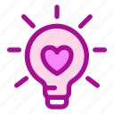 idea, lamp, love, valentine icon