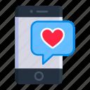 chat, date, mobile, phone, romance, talk, valentine icon