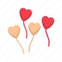 celebration, decoration, heart balloon, valentine icon
