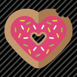 donut, food, love, pink, valentine icon