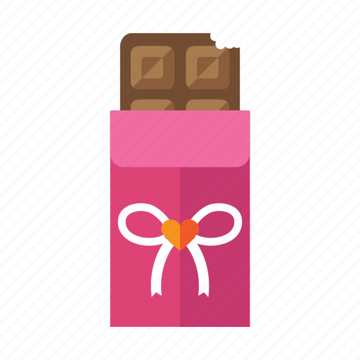 chocolate bar, food, pink, sweet, valentine icon