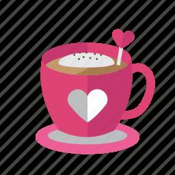 coffee, cream, food, love, valentine icon