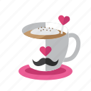 coffee, cream, food, love, valentine icon