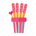 cookie, food, snack, stick, valentine icon
