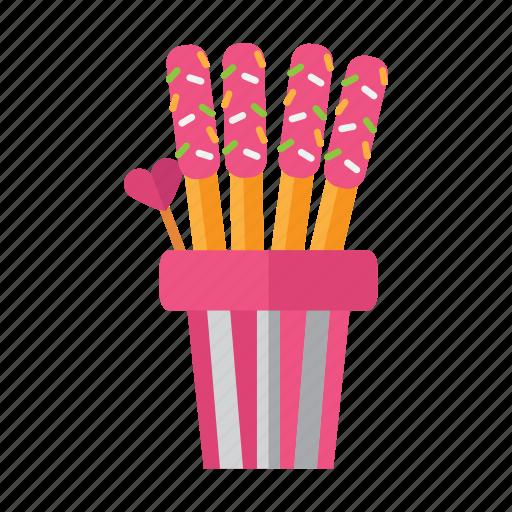 cookie, food, snack, stick, valentine icon