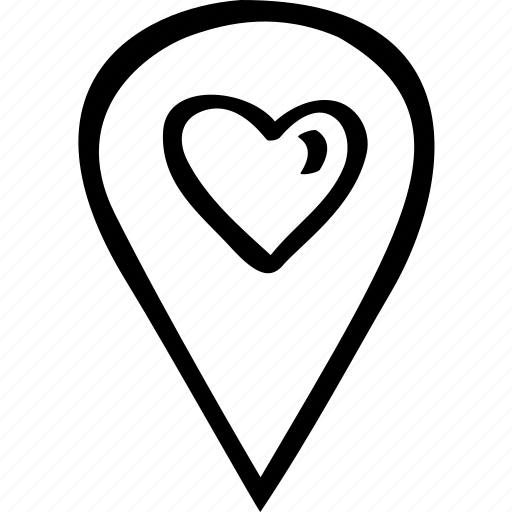 celebration, date, heart, location, love, map, pin icon