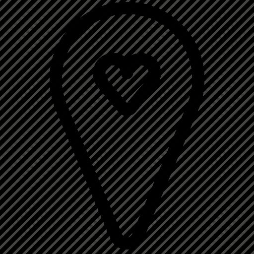 heart, location, love, pin, romance, valentine, yumminky icon