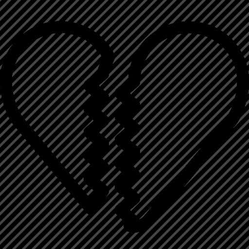 broken, farewell, heart, love, romance, valentine, yumminky icon