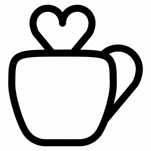 cup, drink, heart, love, romance, valentine, yumminky icon