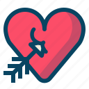 amor, arrow, heart, love, romance, valentine, yumminky icon
