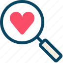 find, heart, love, magnifier, romance, valentine, yumminky icon