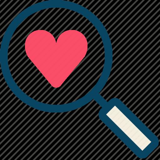 find, heart, love, magnifier, romance, valentine, yumminky icon