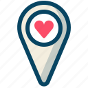 heart, love, navigation, pin, romance, valentine, yumminky icon