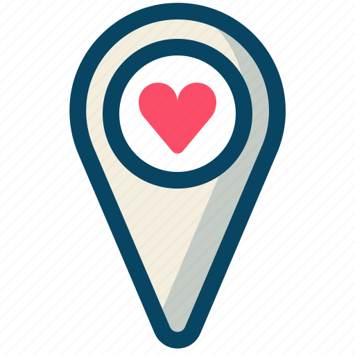 heart, love, navigation, pin, romance, valentine, yumminky icon