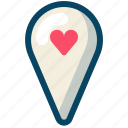 heart, love, map, navigation, romance, valentine, yumminky icon